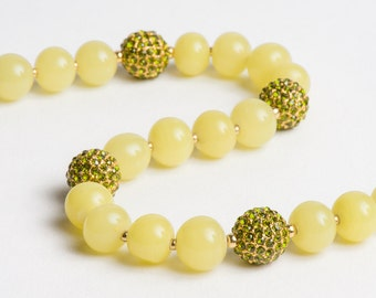 Lemon Peridot Necklace with Gold and Pave Crystal Fireballs in Yellow Lime Green - Night on the Town