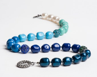 Swarovski Pearl Necklace with Crystal and Gunmetal Pave Fireballs Teal Blue Turquoise Mint - Glacial Lagoon