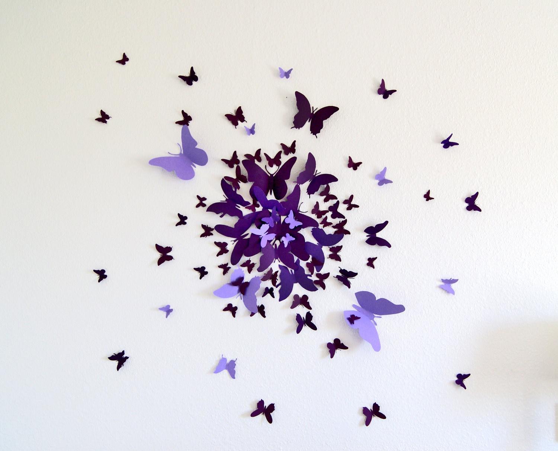 3d butterfly wall art decal set of 70 in purple paper for Butterfly wall art