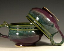 Soup bowl ceramic, French onion soup crock, cappuccino mug, glazed in purple green, handmade stoneware by hughes pottery
