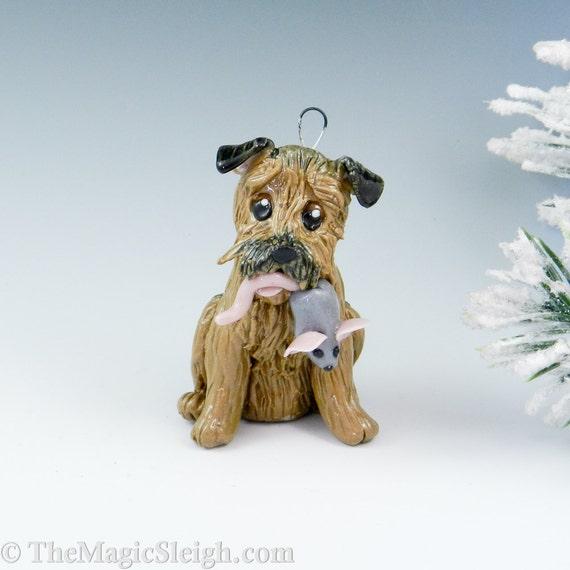 Border Terrier Ornament with Rat Toy Porcelain