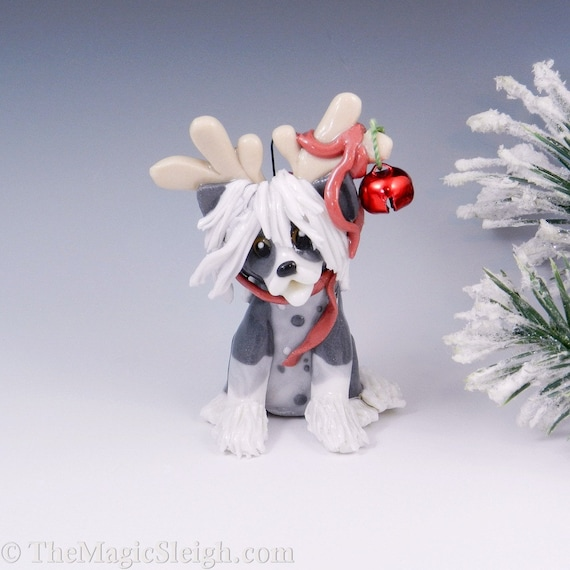 Chinese Crested Ornament  Reindeer Costume Porcelain Sculpture