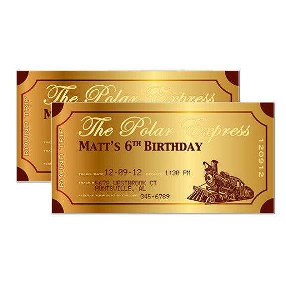 Polar Express Golden Ticket Template Items Similar To Metallic Polar Express Train Ticket