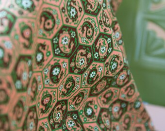 Fall Geometric Paisley- New Old Stock Vintage Fabric Mod Daisies 60s 70s Orange Brown Green