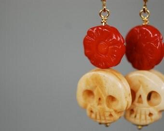 Bella Muerte earrings - Dia De Los Muertos Carved Red Coral Flowers Ox Bone Skulls - Gold Plated Brass