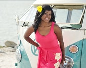 Beach wedding honeysuckle bridesmaid dress