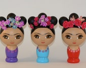 Frida Kahlo Hand Painted Wooden Kokeshi Doll