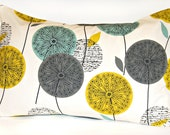 teal grey mustard dandelion decorative pillowcase, flower cushion pillow cover 20 x 30 inch