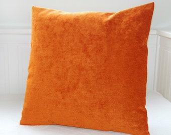orange accent decorative pillow cover, cushion cover mandarin orange  14 inch