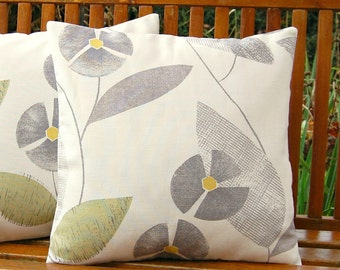 retro flowers grey sage green and gray leaves cushion cover, pillow cover 16 inch