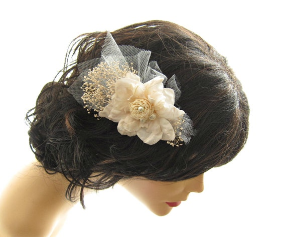 Ivory Flower Hair Comb - Justina -  wedding hair accessory, whimsical adornment