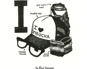 I is for Irony - Letterpress Print