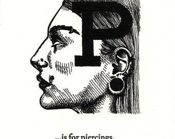 P is for Piercings - letterpress print