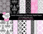 French Chandelier and Damask  Digital Collage Sheets 12 x 12 or 8.5 x 11 Set of  Digital Paper Instant Download