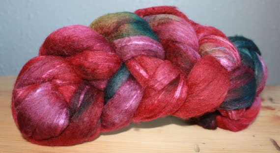 Hand dyed hand painted spinning fiber - luxury fibers - roving top - Frabjous Fibers - handpainted BFL and silk 70/30 4 oz