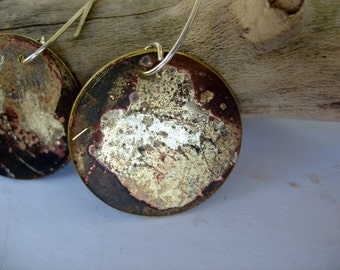 Rustic painted brass sterling silver earrings black series star burst  Eco friendly one of a kind handmade artisan jewelry