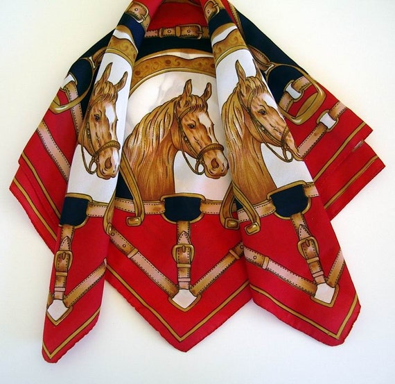 Vintage Horse Equestrian Bridle Tack Scarf  Red Navy White Gold Tan Brown Washable