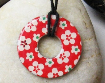 Gorgeous Cherry RED Blossom Floral Upcycled Origami Paper Washer Pendant Hardware Necklace Unique Gift