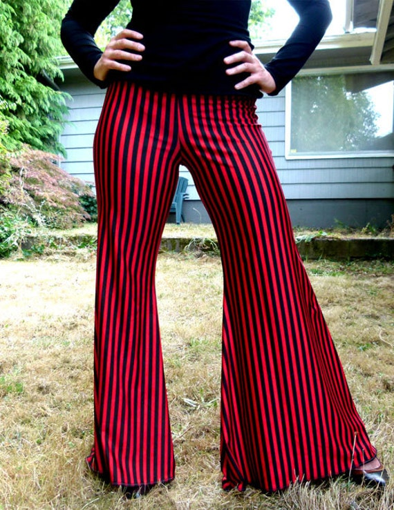 Black and Red Striped Pants --  Size Large