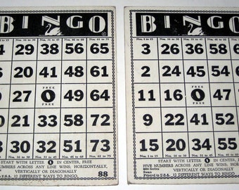 2 Sturdy Vintage Swan Bingo Cards for Altered Art, Collage, etc.