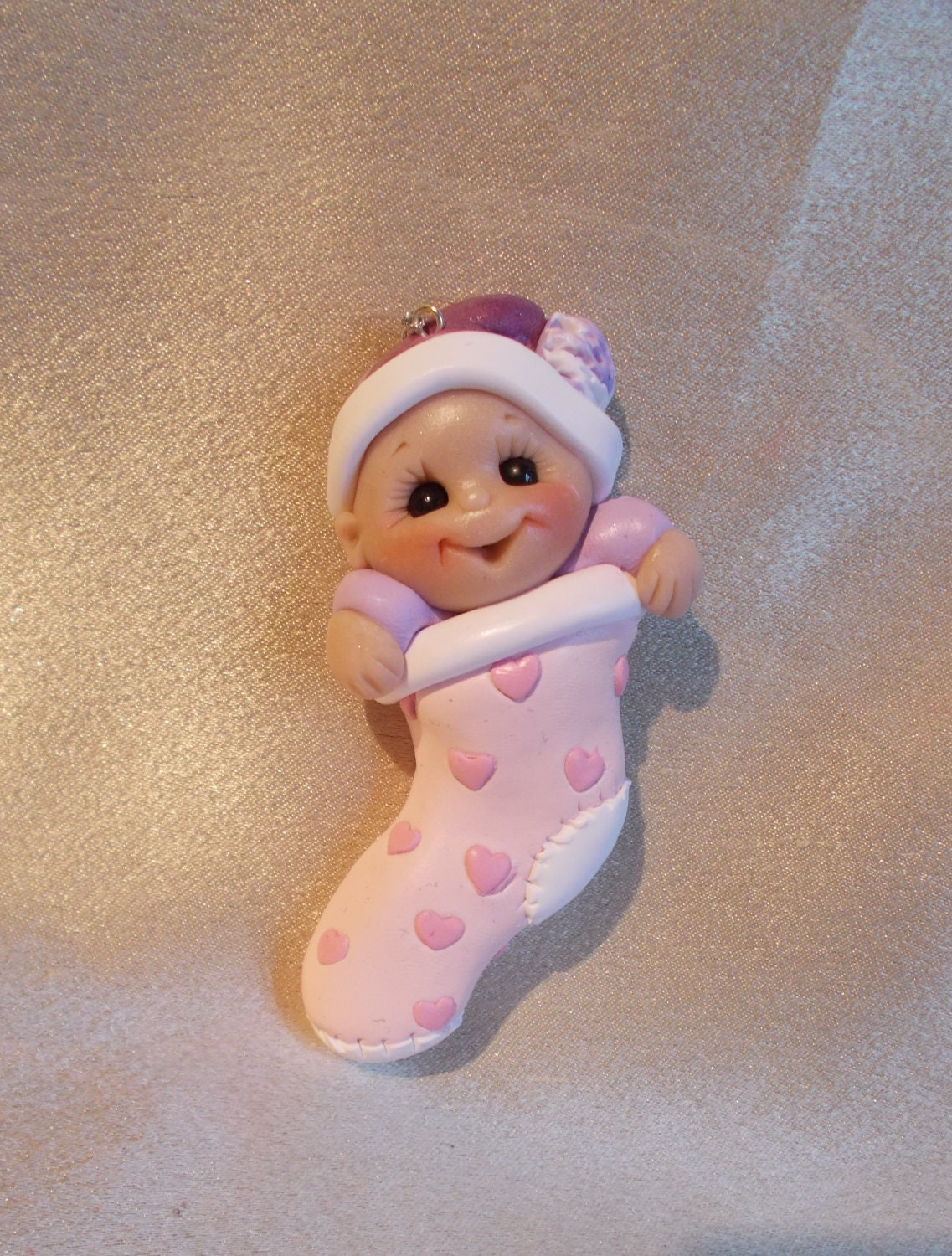 Baby Babys first Christmas Stocking Ornament children by clayqts