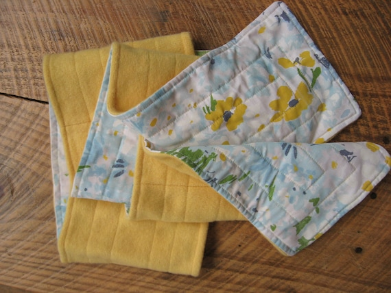 Yellow Cashmere Scarf Vintage Blue Daisy Fabric Upcycled