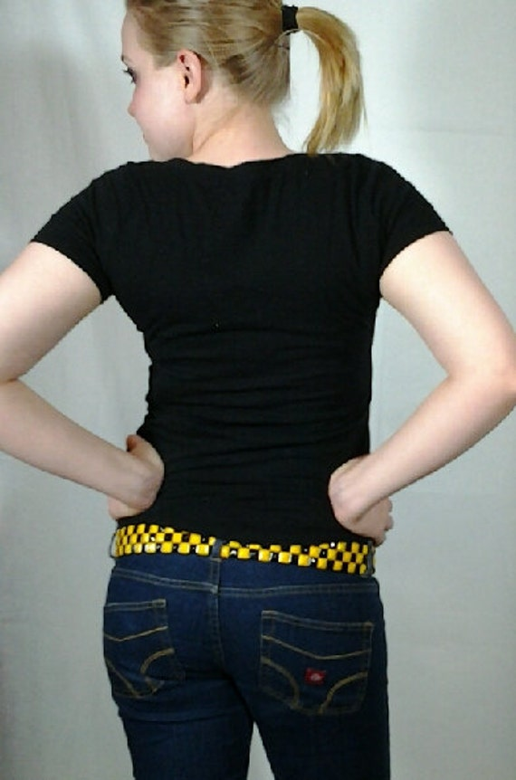 Black and Yellow Checkered Studded Belt