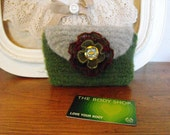 Green Hand Knitted Wool Felted Wallet Pouch