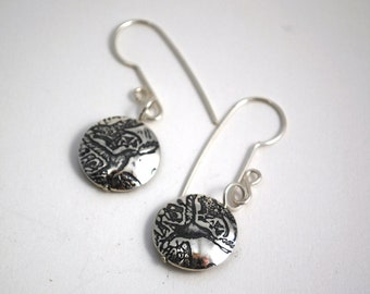 Silver Crow Drop Earrings