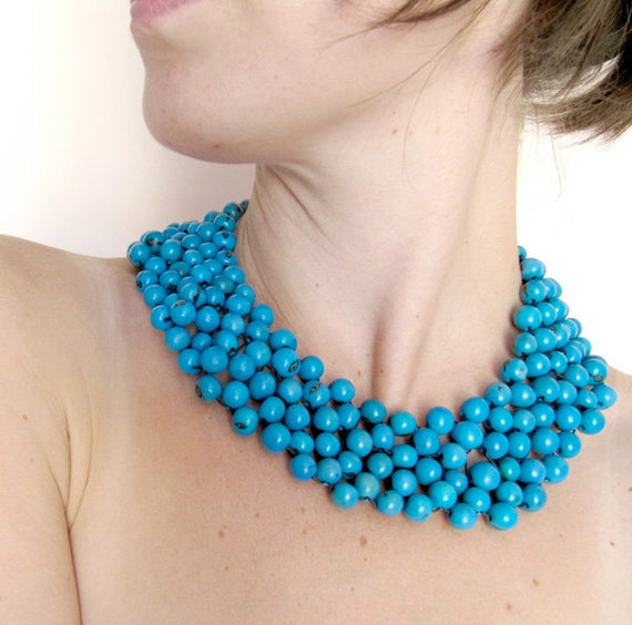 turquoise blue bead necklace, Mexican style, Boho Necklace, Beaded Collar Necklace