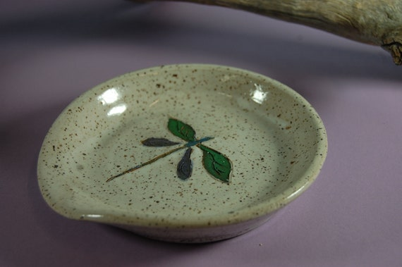Pottery Dragon Fly Spoon Rest Hand Painted Underglaze And White Glaze