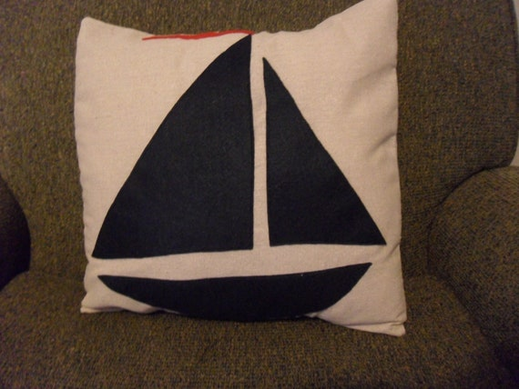 Sailboat Felt Applique Pillow Cover 16 x 16 inches Modern