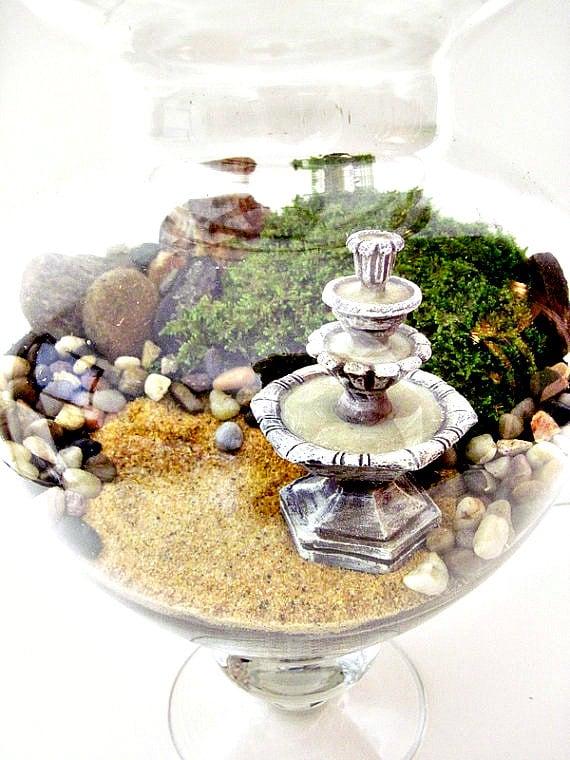 SALE Giant Sized Terrarium Table Centerpiece - Apothecary Jar Secret Garden Scene & Miniature Water Fountain: Extra Large Plant Terrarium