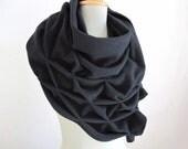 geometric wool shawl - superwarm sculptural wrap - triangular 100% wool scarf, black