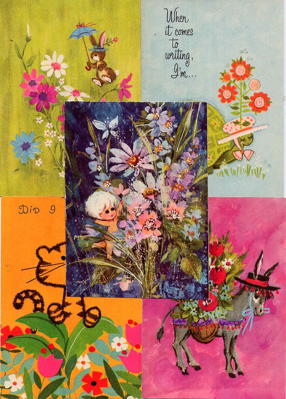 Bright Vintage Mod Flowers Animals Coffee Pots Note Cards Colorful Floral Cute Paper Unused Collection of 12 Different Designs