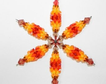 Snowflake Ornament or Suncatcher Wind Spinner Orange Red Brown with Plastic Beads Large Size - #4