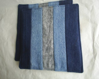 ReCycled Upcycled HandMade RePurposed Pair Denim Pot Holders Potholders Hot Pads