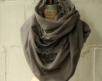 047 unisex cotton poetry scarf , hand printed text , fashion accessories