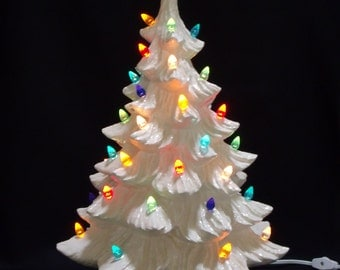 Silver Bells Ceramic Christmas Tree 19 inches
