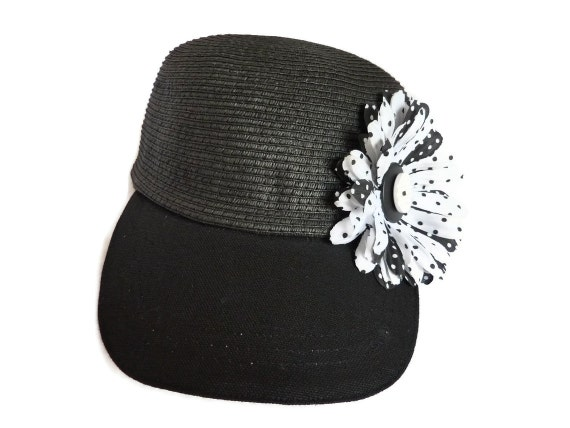 womens golf visor sun hat visor cap in black with polka