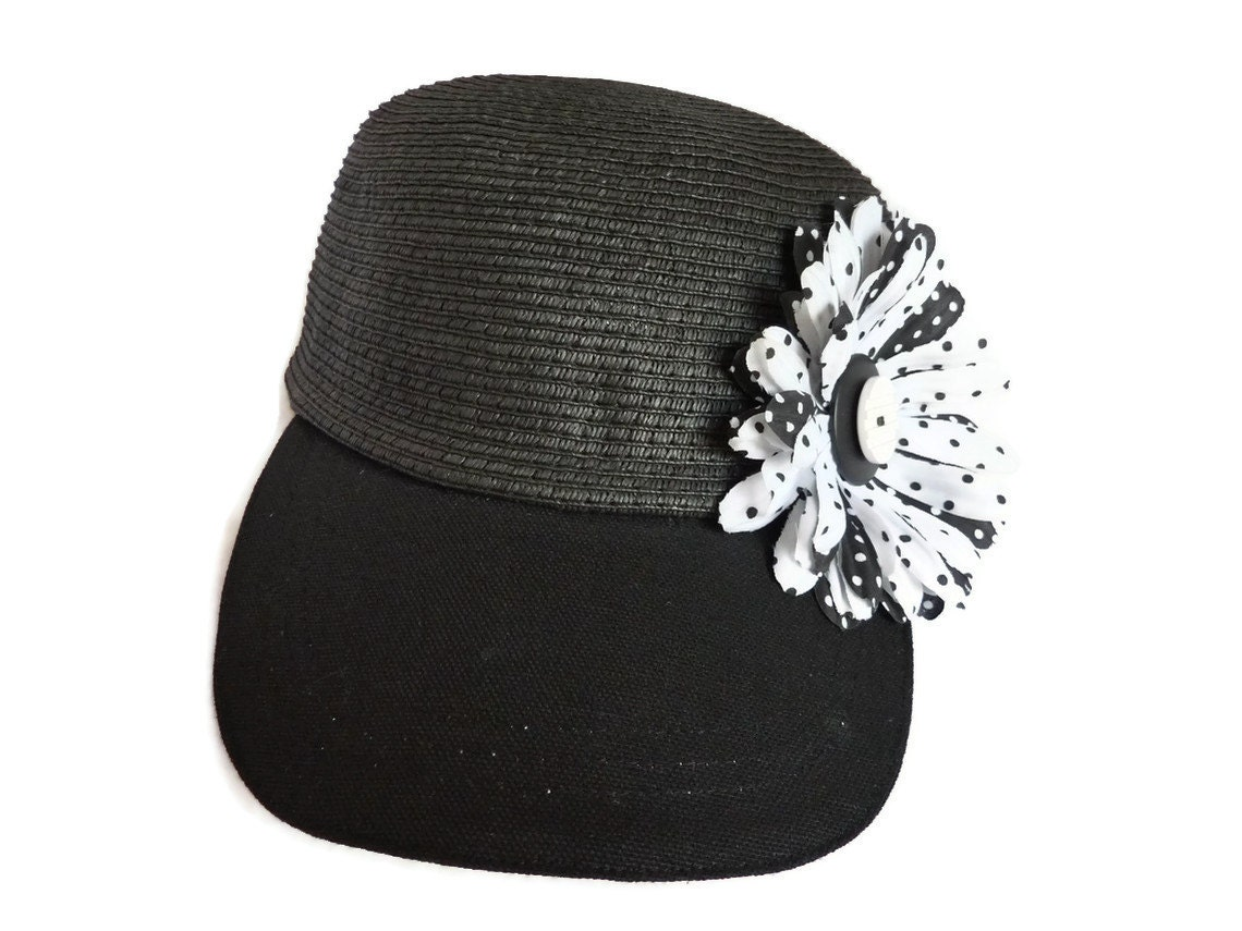 Womens Golf Visor Sun Hat Visor Ball Cap In Black With Polka