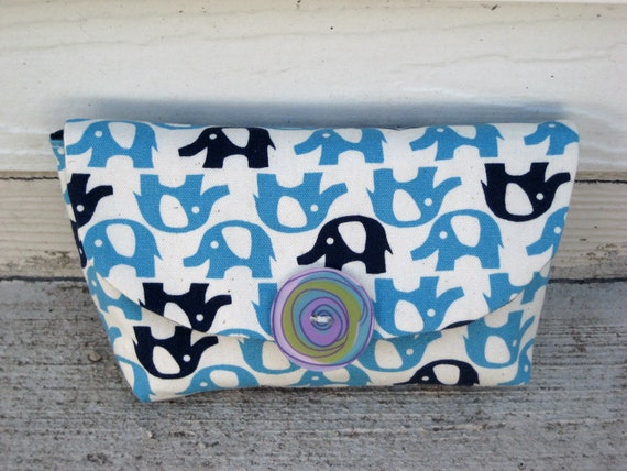 Aspen Clutch - Japanese Fabric - Elephant Clutch - Cotton Linen Blend Clutch