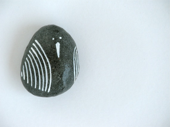 bird  - painted stone - small size