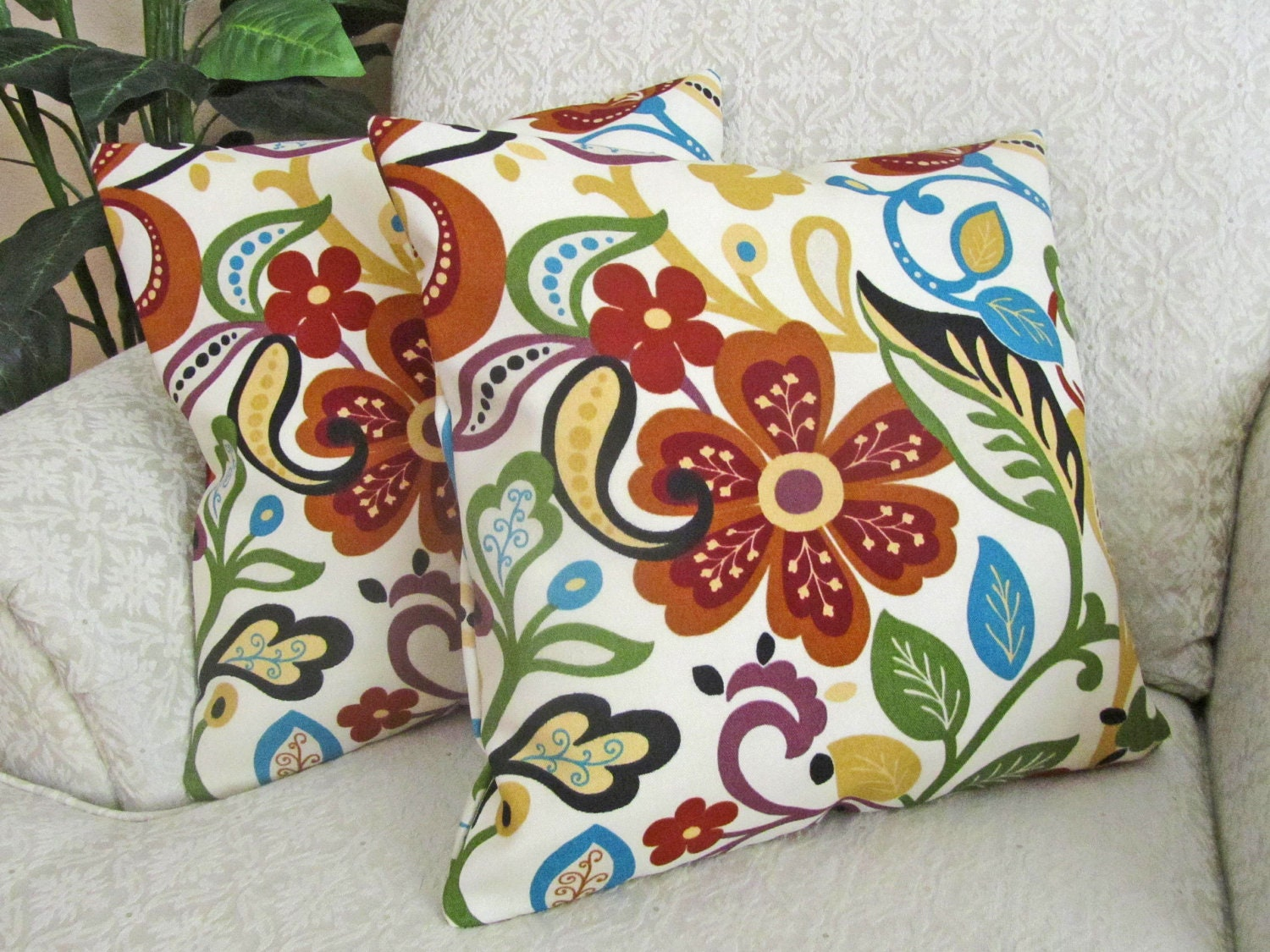 Decorative Floral Pillow Covers : Floral Throw Pillow Cover Decorative Sofa Cushion Cover Orange