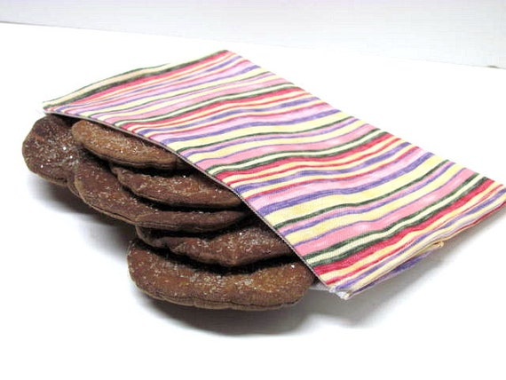 Stripes ReUsable Snack Bag Eco Friendly Lunch Bag Shades of Pink,Yellow, and Purple Women's Girl's Snack Bag