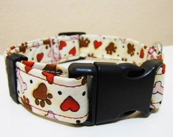 Primitive Paws Bones and Hearts Dog Collar - Size M