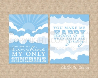 You are My Sunshine Nursery / Kids Room Art Prints // Style: Sunshine and Clouds // N-G25-2PS AA1