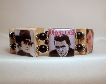 JOHNNY CASH / SCRABBLE Bracelet / Handmade Jewelry / Unusual Gifts / Upcycled