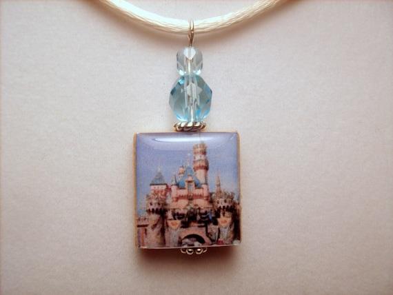 DISNEY JEWELRY / Disneyland Sleeping Beauty Castle Pendant / UPCYCLED Scrabble Art