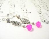 Pink chalcedony earrings dangle sterling silver summer fashion handmade pamelasjewelry